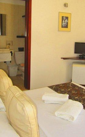 Hotel Latino : deluxe room , tv and fridge