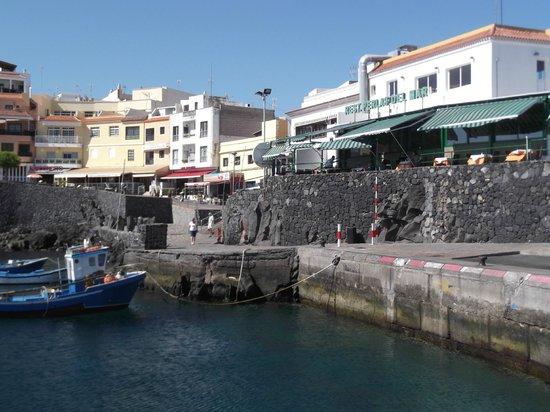 Restaurante Perlas del Mar: Perla del Mar (green sriped canopies) from the harbour side