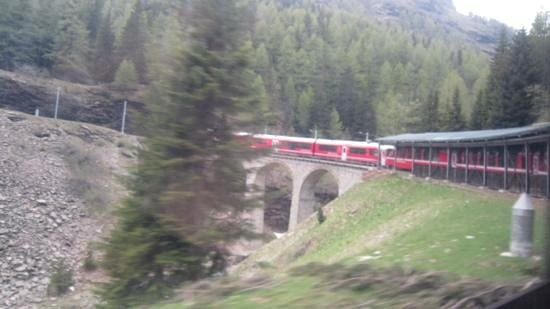 Bernina Express: The train passing over one of the many viaducts