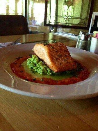 Up The Creek Bistro Wine Bar: Pan seared salmon, broccoli puree, green onion oil, roasted red pepper sauce.