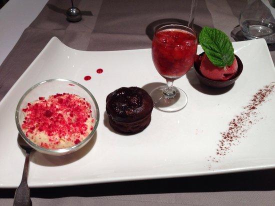 L'Avocette : Menu 32€-Dessert : délice de chocolat et fruits rouge