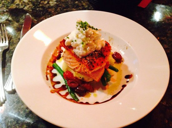 David's 388: Salmon with a special feta sauce over mashed potatoes