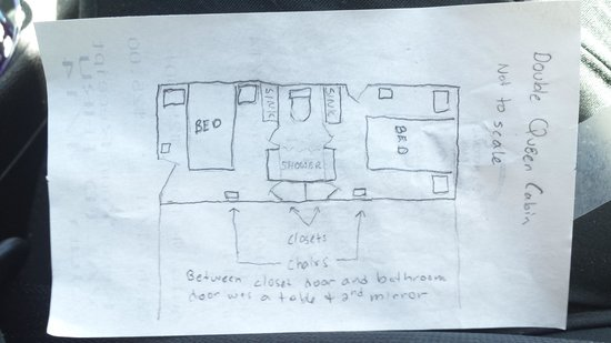 Jacob Lake Inn: Hand drawing of double queen cabin room layout