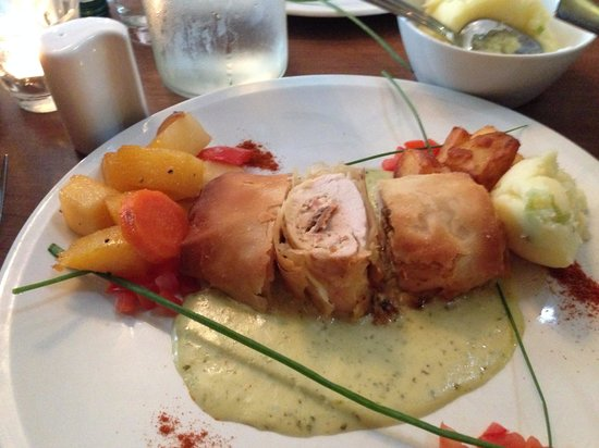 All Seasons Restaurant: Baked chicken in filo stuffed with Boursin cheese, tomato with a pesto velouté