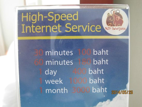 Hip Bangkok: Price of chargeable hotel WiFi