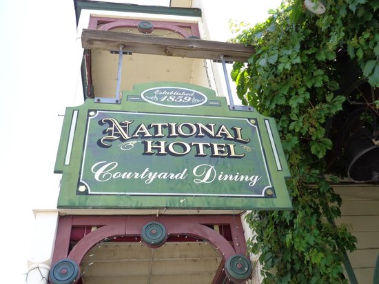 1859 Historic National Hotel: Hotel sign