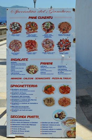 Il Gambero : The menu