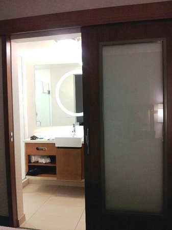 SpringHill Suites Jackson Ridgeland/The Township at Colony Park: Sliding door to restroom