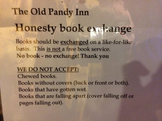 The Old Pandy Inn: spotted this notice in the foyer of the pub