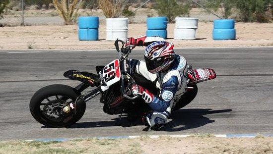 P1 Kart Circuit: Jake Holden on his Supermoto here at the track