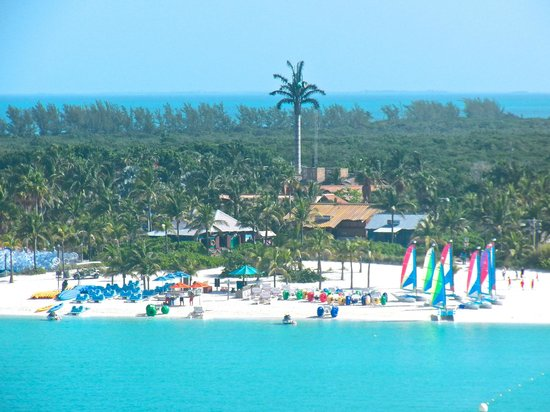 Castaway Cay: A view of the beach from Deck 8 of the Disney Magic