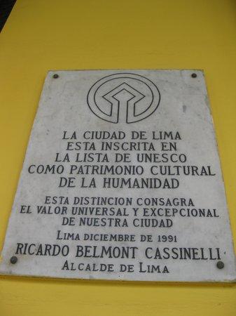 Plaza de Armas (Plaza Mayor): World Heritage plaque