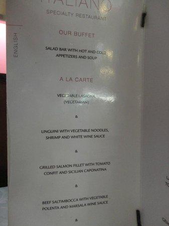 Hotel Riu Yucatan: Italian Restaurant Menu
