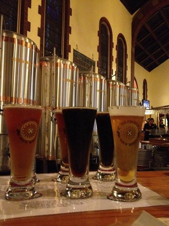 Church Brew Works: Flight at the bar.