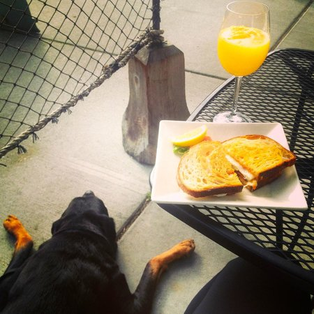 Adrift Restaurant: Enjoying an egg sando and mimosa with my fur baby.