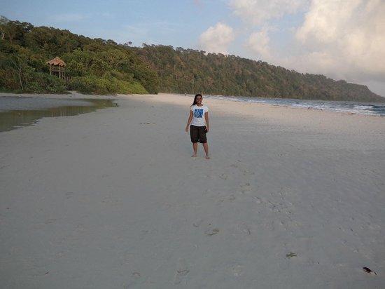Sand bar between fresh water and salt water at Radhanagar Beach