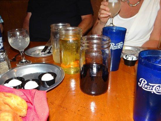 Rustler's Rooste : glass jars of drinks