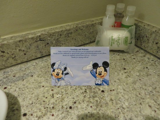Bay Lake Tower at Disney's Contemporary Resort: Welcome card with H2O toiletries