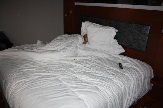 Hotel Sancho Abarca: cama de la habitacion