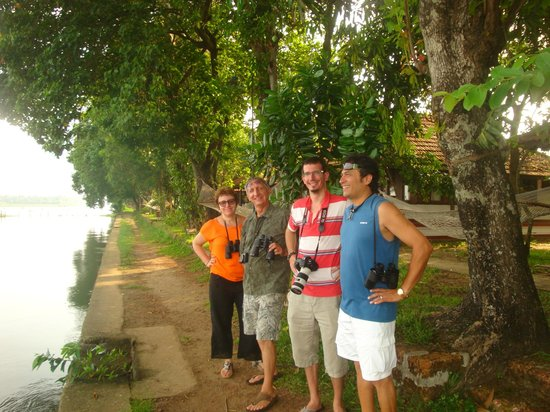 Coconut Lagoon: Front of our Villa, our Birdwatching team!!!