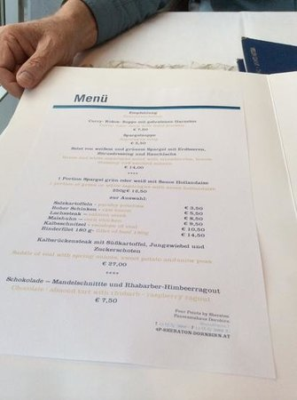 Four Points by Sheraton Panoramahaus Dornbirn: this is the menu