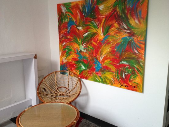 The Santo Inn: The wooden chair outside the room  I stayed.