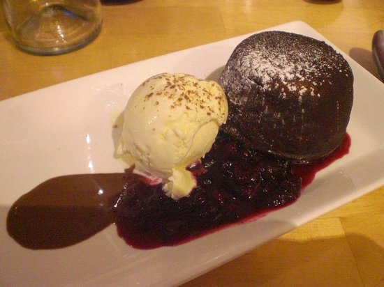 Coast Coffee Bar and Bistro: choc fondant with rasps and ice cream