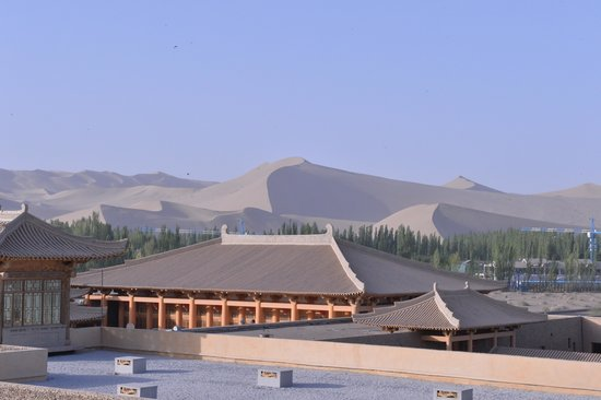 Silk Road Dunhuang Hotel: view from the roof/ breakfast