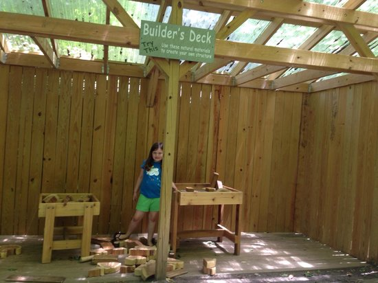 Western North Carolina Nature Center : Building station with different shaped wood pieces
