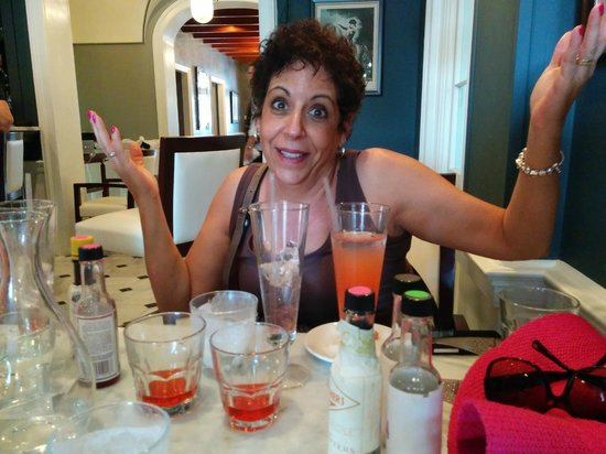 Drink & Learn: She cannot figure out which one she likes better.