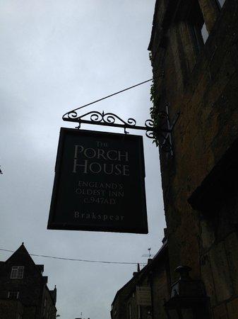 The Porch House: Pub sign