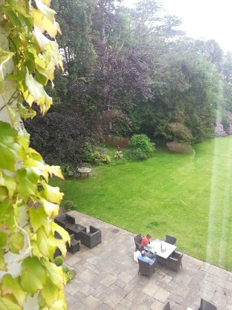 Fairyhill: A view of the terrace and gardens from room 7