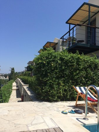 Pelagos Holidays Apartments: view from the pool to the entrance!