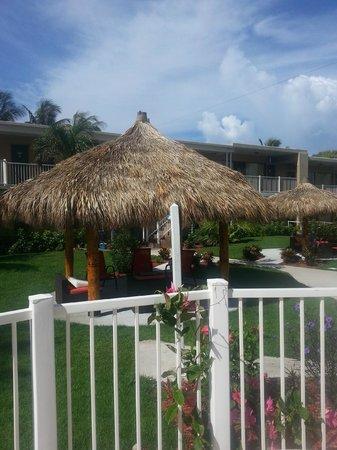 Budget Inn Ocean Resort: Shaded tiki hut w. comfortable seating