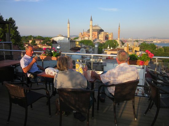 Ambassador Hotel: Sunset on the Ambassador roof terrace