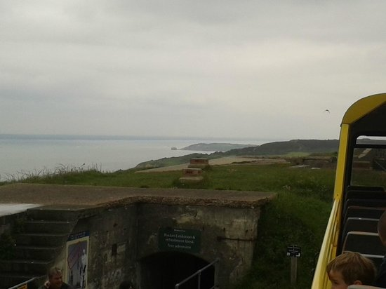 The Needles Breezer: View of Old Battery from the top of the bus