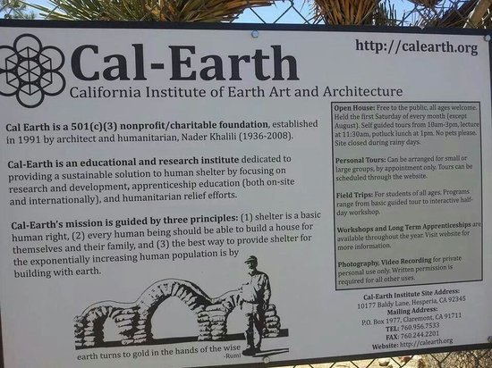 Cal Earth Homes: Sign on d gate