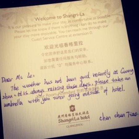 Shangri-La Hotel Guangzhou : lovely message