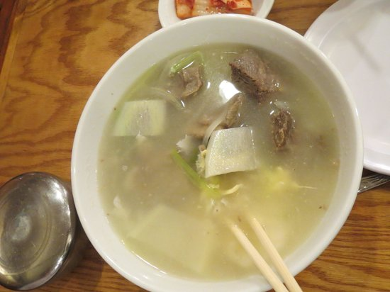 Korea House: Beef rib soup with clear noodles, egg and vegetables