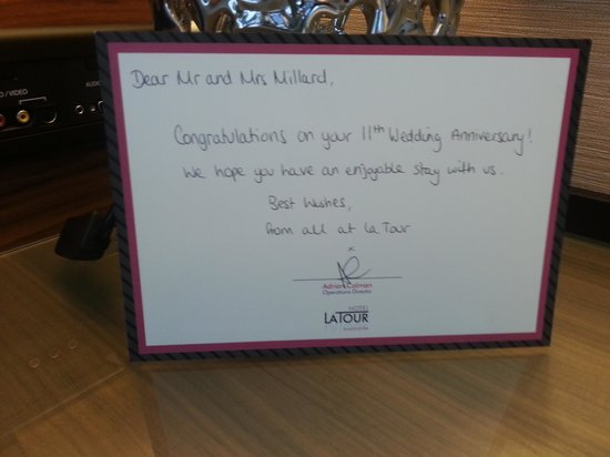 Clayton Hotel Birmingham: Personalised greeting