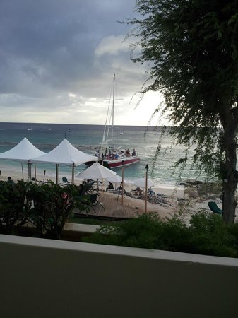 Mango Bay All Inclusive: Overlooking the decking area and where the Catamaran and other boat trips come in.