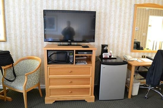 Quality Inn Downtown Inner Harbour: Television, fridge, and desk