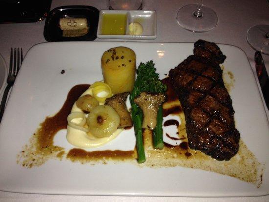 Norman's: Chimichurri rojo NY strip w.confit potato, glazed cippolini, smoked cauliflower puree