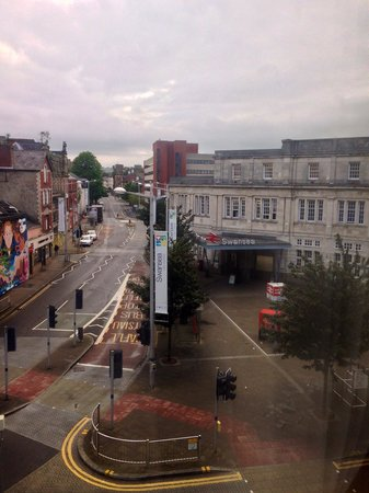 The Grand Hotel Swansea: View from #303 - very close to the train station and the town centre.