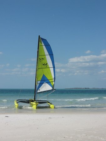 Bradenton, FL: Sailing to one of the sandbar islands in Tampa Bay on a Windrider 17 rented at Bimini Bay Sailin