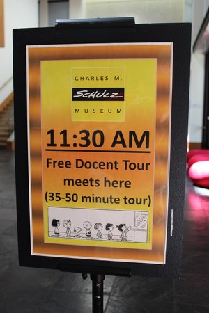Charles M. Schulz Museum: Guided tours sign, Charles Schulz Museum, May 2014