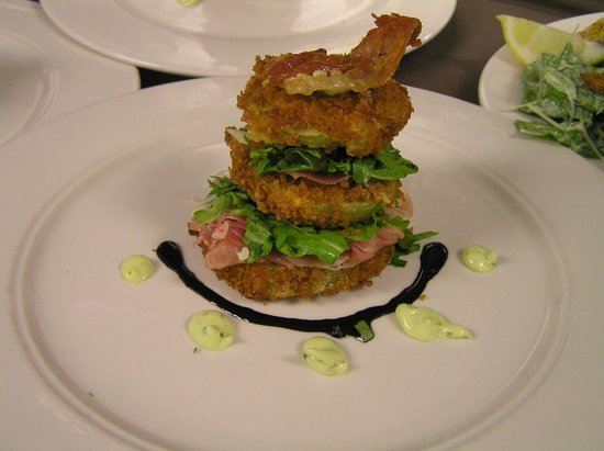 Vermont Supper Club : Fried Green Tomatoes with Prosciutto and Basil Aioli
