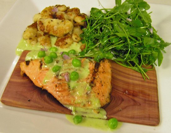 Vermont Supper Club : Cedar Plank Grilled Salmon with Cracked Pepper Gnocchi and Pea Sauce