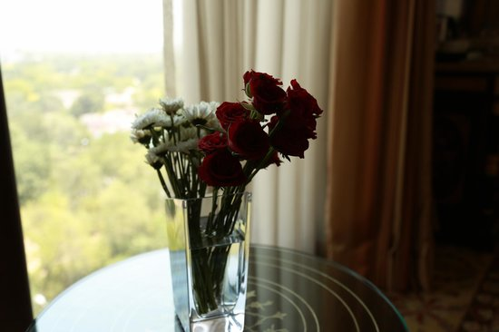 The Leela Palace New Delhi: lovely flower arrangement and the view from my room