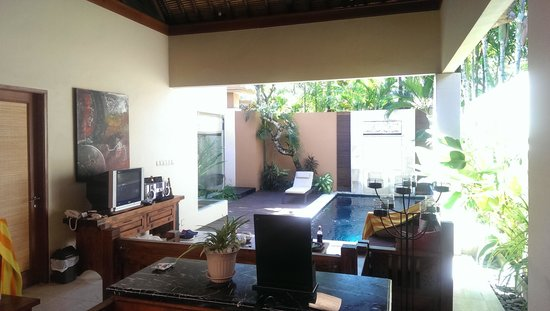 Bhavana Private Villas: looking out from kitchen to pool..